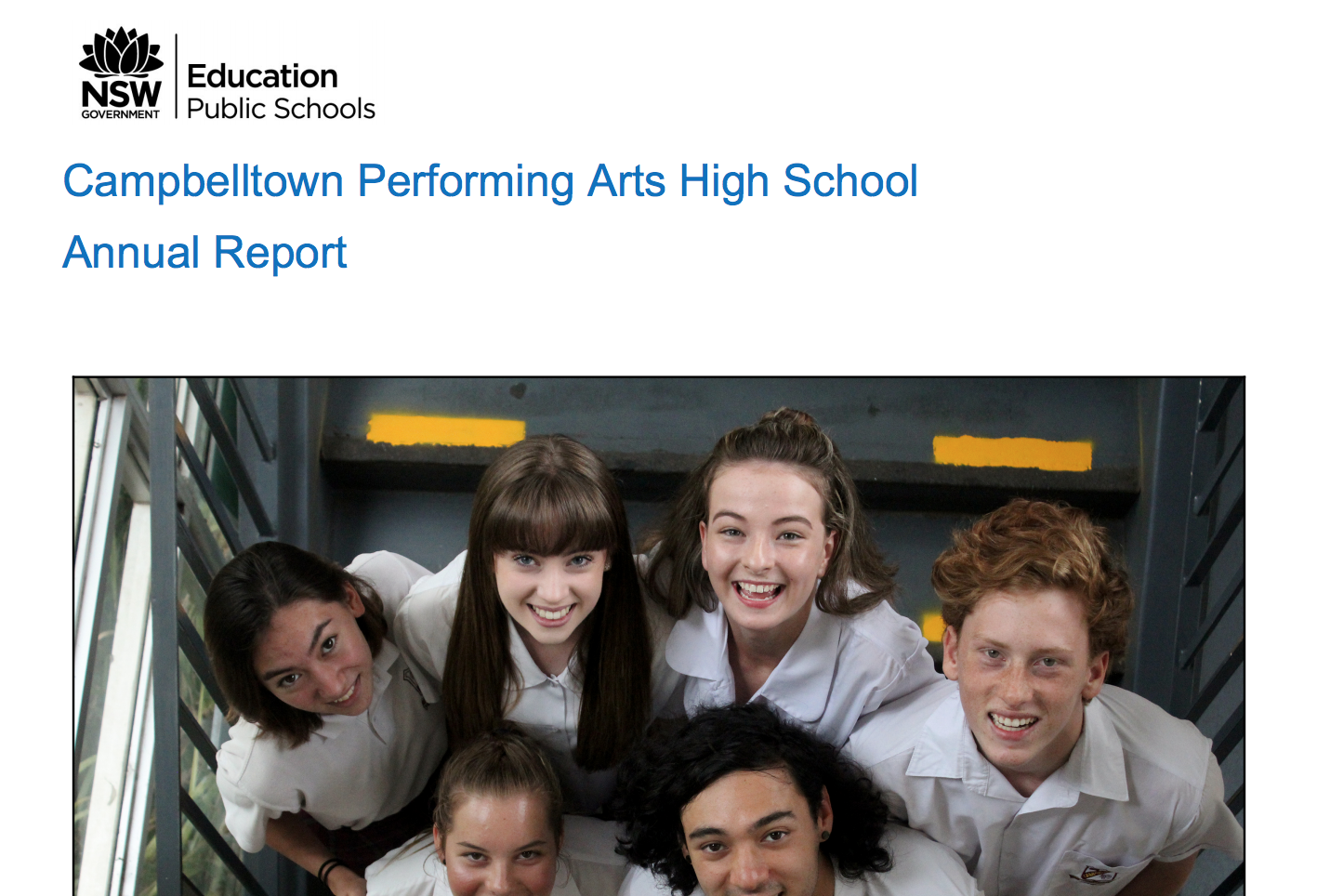 Annual school report front cover