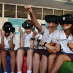 Students using VR equipment