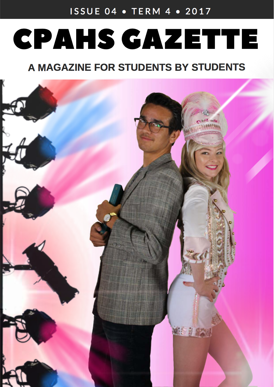 Student magazine cover - 2 leads from Legally Blonde musical